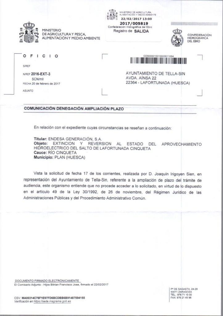 Reversión Lafortunada. CHE no autoriza ampliar plazo de alegaciones a Tella-Sin