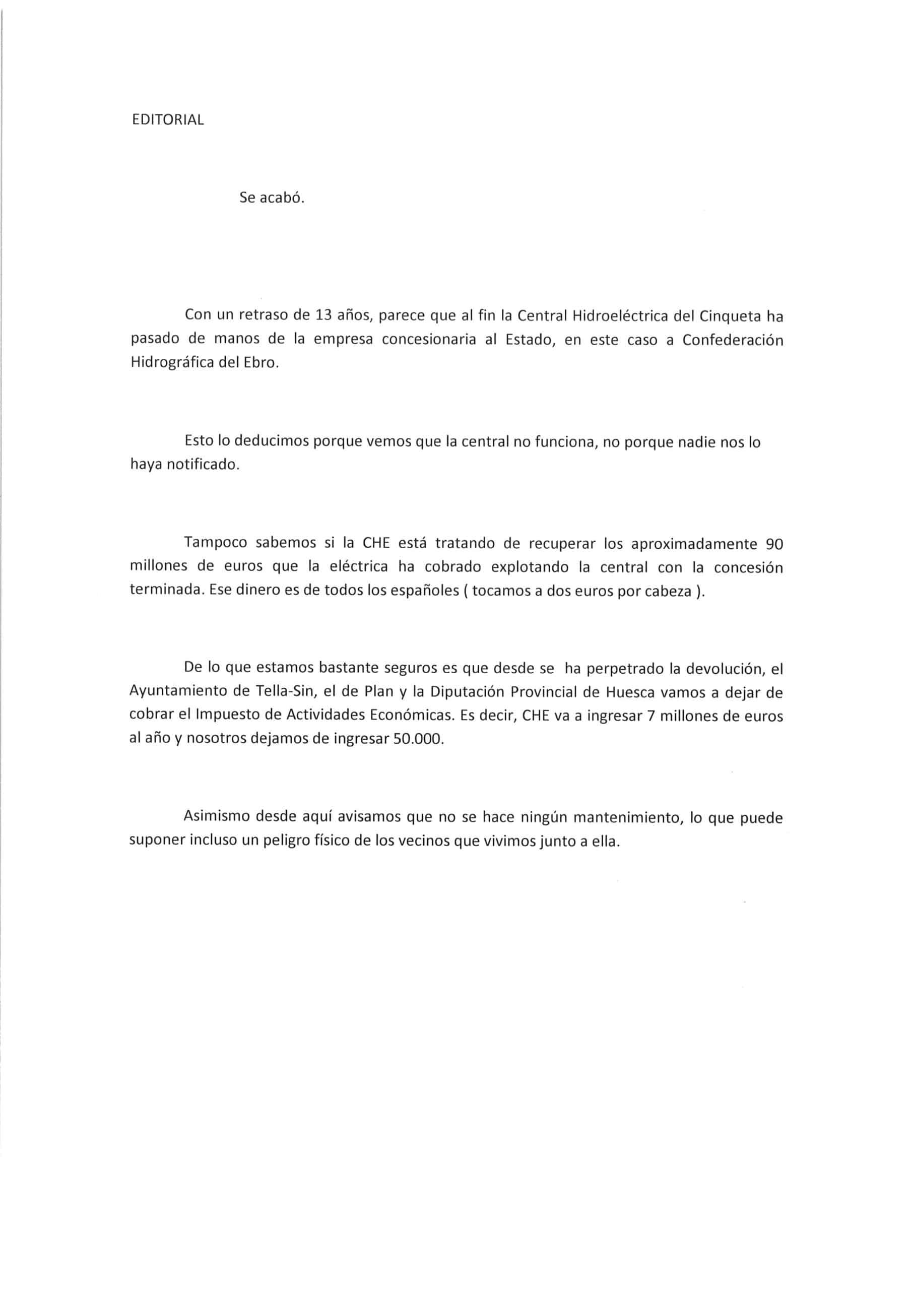 "Editorial: ""Se acabó""."